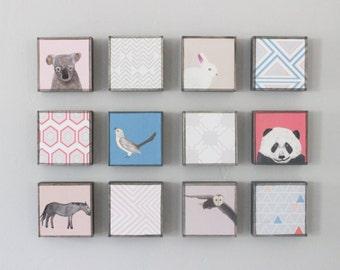 woodland nursery, nursery wall art- twelve set of 5x5 art blocks- kids room decor- modern wall art for kids geometric decor- redtilestudio