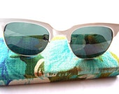 Retro White Sunglasses with Vintage Floral Fabric Case