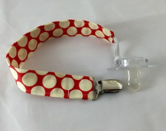 Pacifier Clip Paci Clip Holder Binky Holder - Cherry Red Dots - Ready to Ship