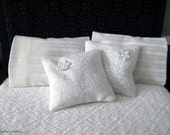 Set of 2 white floral pillows with lace flower detailing - dollhouse miniature