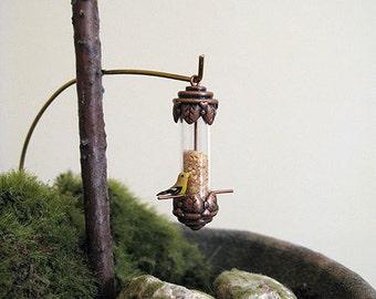 Aged copper birdfeeder - dollhouse miniature