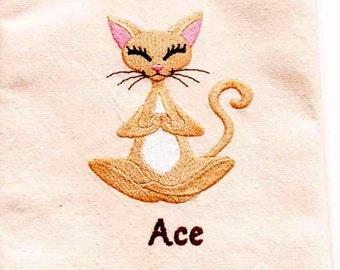 Yoga Cat Tea Towel | Embroidered Towel | Embroidered Kitchen Towel | Embroidered Tea Towel | Kitchen Towel | Embroidered Hand Towel