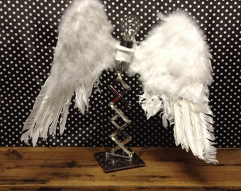 Handmade Angel Wing Mixed Media Lamp Assemblage OOAK