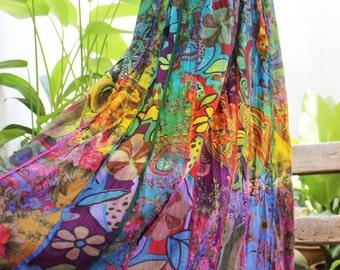 Floral Print Thai Soft Dyed Cotton Patchwork Boho Skirt - elastic waist OMD1504-01