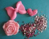 kawaii decoden cabochon decoden deco diy big pink bow charm kit  C 30---USA seller