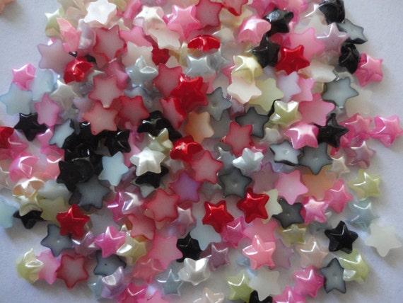 Random mix pearlized star flatbacks small   6 mm        more than  50 pcs---USA seller