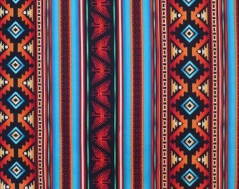 REMNANT--Turquoise and Rust Aztec Stripe Print Pure Cotton Fabric--2/3 Yard