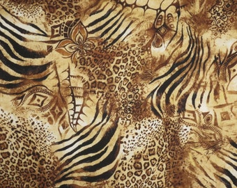 Brown Exotic Animal Collage Print Pure Cotton Fabric--One Yard