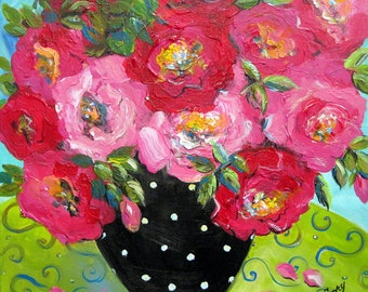 Rosy Roses Still life painting gift for her original art  wall decor 20 x 20 Original Painting By Elaine Cory
