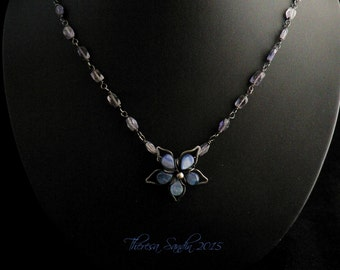 Kyanite Clematis Focal Necklace in Sterling Silver and Iolite Beads