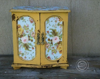 R O S E , Jewelry Box Vintage Armoire Pink Rose Paper