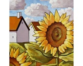 "Art Print 5""x7"" Floral Folk Art Giclee  by Cathy Horvath, Summer Yellow Sunflower Cottages, Archival Flower Landscape Artwork SoloWorkStudio"