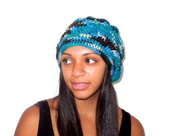 Crochet Slouchy Hat, Women, Men, Teen, Multicolor, Tam,