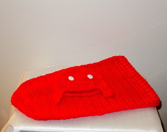 Crochet Baby Cocoon, Hat Set, Newborn, Red, White, Aviator Hat, Earflap Hat, Baby Shower
