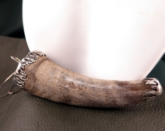 Goat Horn Pendant with Sterling Silver Bail - Free Domestic Shipping to US