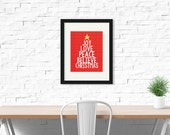 Joy, Love, Peace, Believe, Christmas | Holiday Art | Wall Art | Subway Art | 5x7 | 8x10 | 11x14