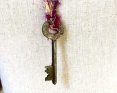 Key to My Heart Skeleton Key on Sari Silk Necklace Pendant Believe Unique One of A Kind Valentine Birthday Gift