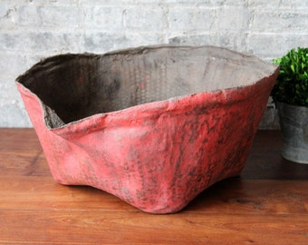 Large Red Bowl Vintage Red Leather Bowl Funky Centerpiece Planter Rustic Accent Farmhouse Chic Coastal Decor Indonesian Decor