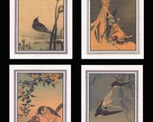 4 Blank Note Cards of Small Birds by Koson gcbs017