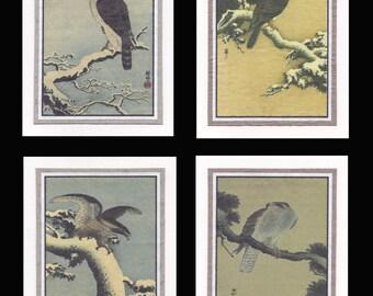 4 Blank Note Cards Hawks, Goshawk and Eagle by Koson gcbs016