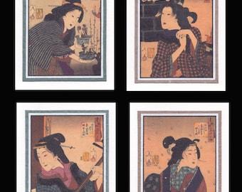4 Blank Note Cards of Ukiyo-e Women by Yoshitoshi gccs021