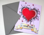 Valentine Heart Card with Envelope, Grunge Heart Card, I love You Card