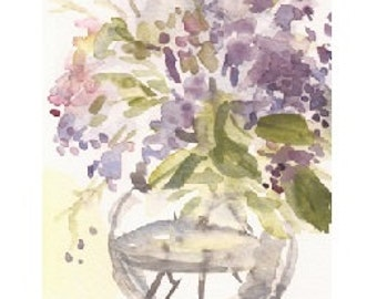 """Lilac Sketch, a 4""""x6"""" print of a watercolor with flowers pink and orange, printed on 8.5""""x11"""" paper"""