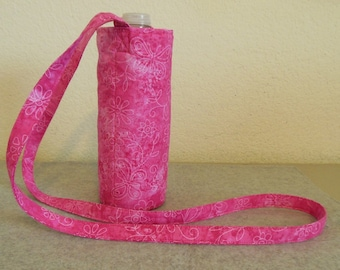 Insulated Water Bottle Carrier - Pink with Butterflies and Daisies
