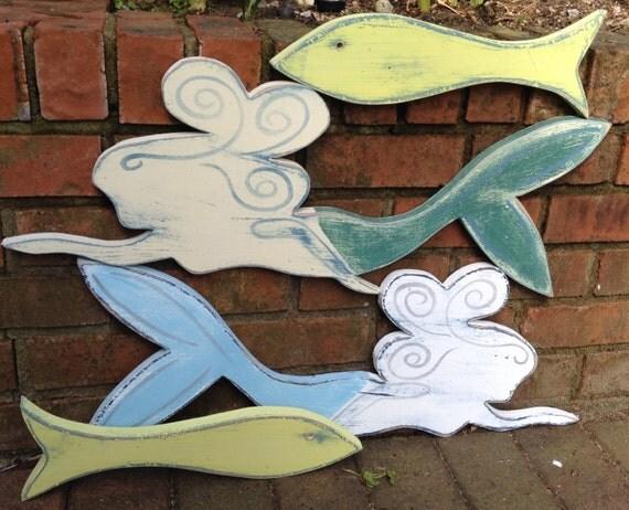 Mermaid Sign Wall Art With Crystal Beach House Decor by CastawaysHall
