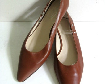 Vintage Talbots 90s Leather Shoes 1990s Brown Made In Italy Women's Shoes Size 8.5M