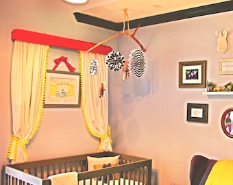 Yellow Pom Pom Curtain