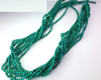 "Turquoise. Deep Turquoise.  Blue Green. Shiny, SMooTH Round Beads. Mini Gumballs. Seed Beads. Full Strand 16"" 4 mm (TQ185)"