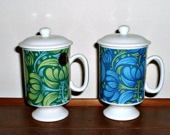 Vintage Mugs Floral Blue Green Coffee Cups Flower Power Groovy Lot of 2 Arnat Japan