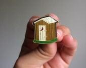Vintage Out House hard enamel lapel pin