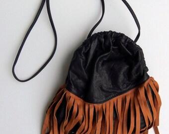 Vintage 80's Purse Shoulder Bag Cross Body Black Leather Brown Suede Fringe Hippie Boho