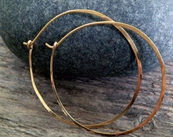 2 Inch 14K Solid Gold Hammered Endless Hoops (18 gauge) Modern Bright Finished Extra Large Sized Hoops