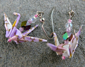 Pink and Lavender Origami Crane Earrings