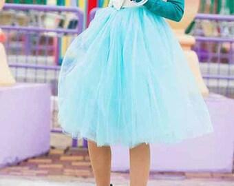 Turquoise Tulle Skirt. Tulle skirt.Woman tulle skirt. Tutu skirt.Tea length tulle skirt.