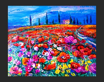 Tuscan Landscape Painting Original on Canvas, Tuscan Art, Tuscan Painting, Poppies Tuscan Painting, Tuscan Landscape Art, Canvas Art