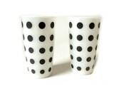 Vintage Hazel Atlas Black Polka Dot Glasses ... Milk Glass Black and White, Set of 2, Pair, Milk Glasses, Juice Glasses, Barware, Retro Mod