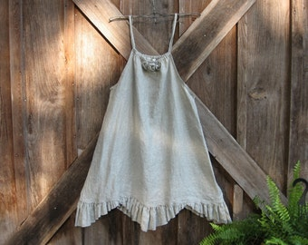 sundress pinafore jumper tunic in natural flax linen ready to ship