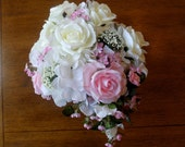 Pink and White Cascade Bridal Bouquet,  Cascade Bouquet, White Roses, Pink Spray Roses, White Hydrangea Bouquet, White Rose Groom's Bout