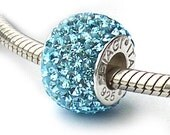Swarovski Crystal Blue Charm Beads Sterling Silver
