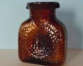 Vintage Blenko 384 Water Bottle Chestnut/Amber/Dark Brown