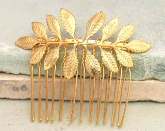 Bridal Hair Comb,Gold Leaf Hair Comb,Bridal Accessories,Bridal Hair Jewelry,Bridal Greek Leaf Hair Accessories,Wedding Gold Leaf Hair Comb