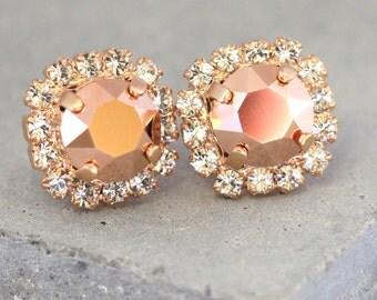Rose Gold Earrings, Rose Gold Swarovski Crystals,Bridesmaids Earrings,Bridal Rose gold earrings,Crystal Gift for her,Rose Gold Stud Earrings