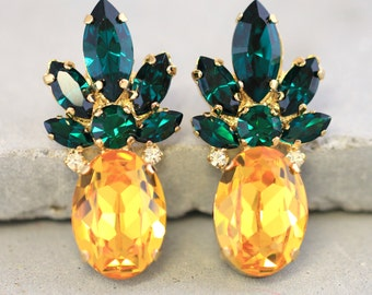 Pineapple Earrings,Swarovski stud Earrings,Yellow Emerald Crystal Swarovski Earrings,Trending Jewelry,Swarovski statement Earrings,Pineapple