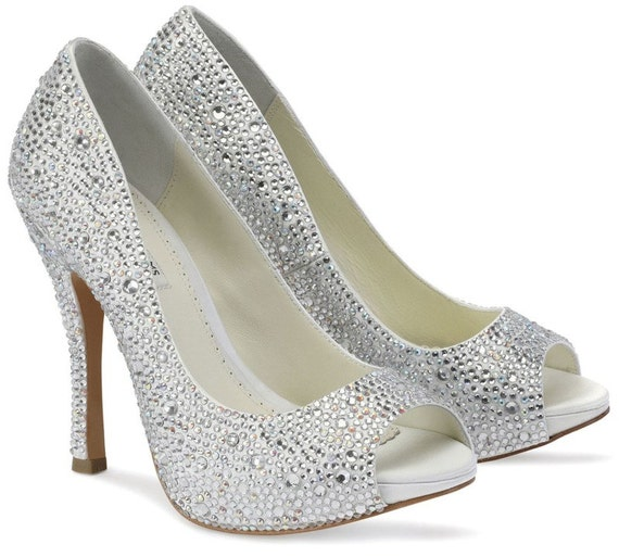 Wedding Shoes Swarovski Crystal Womens Shoes Silk By Pink2Blue