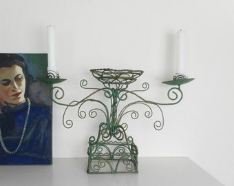 Vintage Candleholder Candelabra Wire Work Artisan Handmade Green Gold Faux Verdigris Paint French Home Decor Romantic Lighting