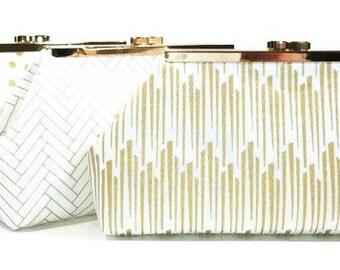 Bridesmaid Clutch, Bridal Clutch, Wedding Clutch, Personalized Clutch - Metallic Gold Navy White Clasp Clutch Purse